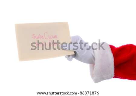 Santa Claus outstretched arm with a letter in his hand. Horizontal format over a white background.