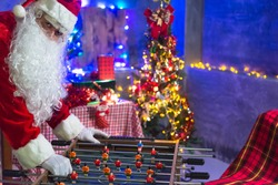 Santa Claus play Tabletop Soccer Football Table in the house,Happiness to the children,Welcome to winter,Happy new year,Time for relax,Tabletop Soccer Football Table