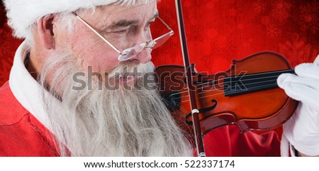Santa Claus playing violin against red paint splatter background #522337174