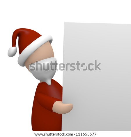 Santa Claus pointing on a blank board