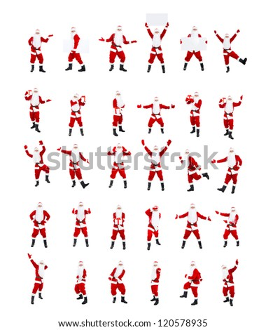 Santa Claus, posing isolated on white background, big set merry christmas time and happy new year collage