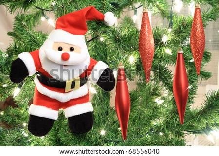 Santa Claus puppet on Christmas tree