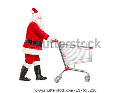 Santa Claus pushing an empty shopping cart isolated on white background