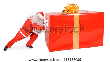 santa claus pushing big box on white background