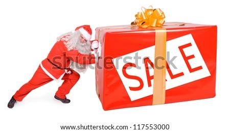 santa claus pushing big gift