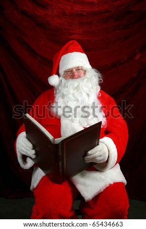 "Santa Claus reads from his book his notes on all the ""Naughty or Nice"" children from around the world so he knows who to give a nice present to and who to leave a ""Lump of coal"" in their stocking"