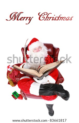 "Santa Claus reads from his book of Who has been ""Naughty or Nice"" isolated on white with room for your text. Shot with a Fisheye lens for a fun festive image. - stock photo"