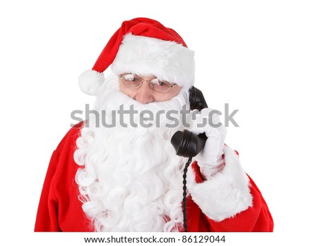 Santa claus receives a phone call on white background
