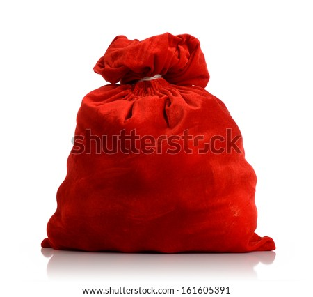 Santa Claus red bag full, on white background. File contains a path to isolation.