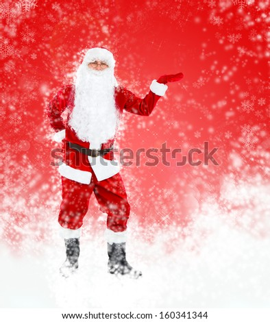 Santa Claus red christmas background, hold point open palm glove empty copy space, concept new year sale shopping abstract winter snow