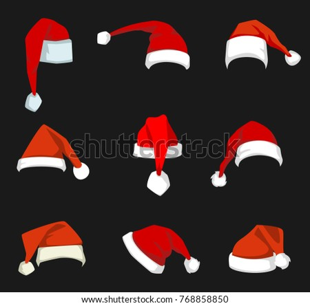 Santa Claus red hat isolated New. Xmas holidays mascarade costume. Christmas hat decoration.