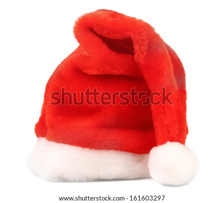 Santa Claus red hat. Isolated on a white background