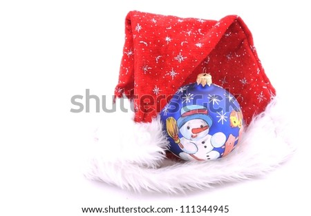Santa claus red hat on white background.