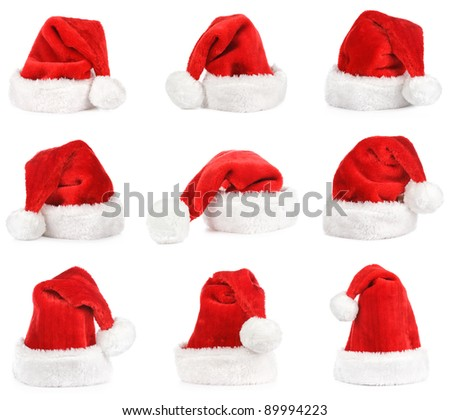 Santa claus red hat on white. Set.