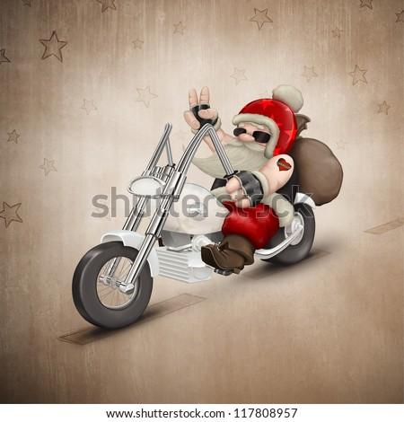 Santa Claus rides a motorcycle for delivery the gifts