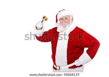 Santa Claus ringing a bell,  it's Christmas time, isolated on white background
