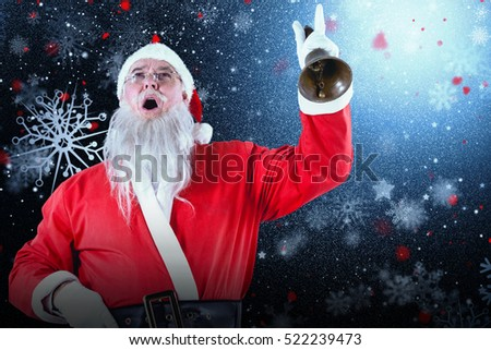 Santa claus ringing bell against snowflake pattern