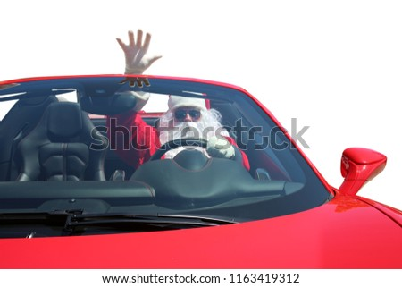Santa Claus. Santa Claus in his Sports Car. Isolated on white. Room for text. Santa Drives FAST!
