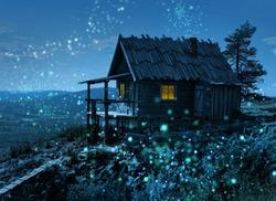 Santa Claus secret cottage on Lapland fell top surrounded by magic light spots