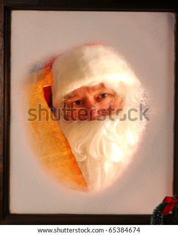 Santa Claus seen through a frosted window holding up a scroll of his naughty and nice list.