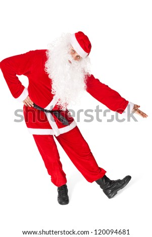Santa Claus showing a copy space isolated on white background
