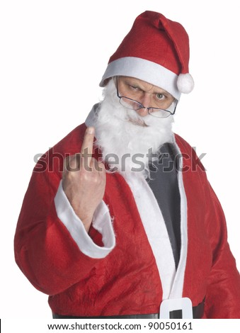 santa claus showing his middle finger