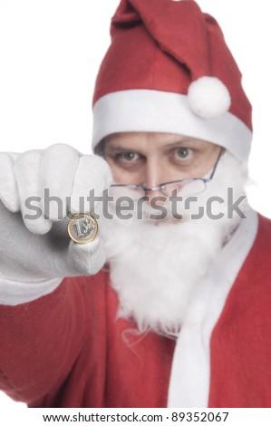 Santa Claus shows a euro