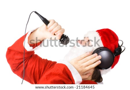 Santa Claus singing a song. Isolated on white.