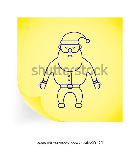 Santa Claus. Single icon on the yellow note paper.