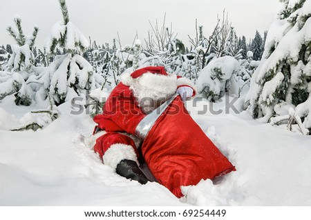 Santa Claus sitting looking for presents in his sack in the forest - stock photo