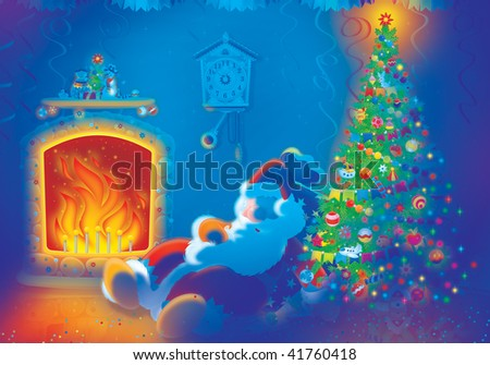 Santa Claus sleeps by the fire in the Christmas decorated room.