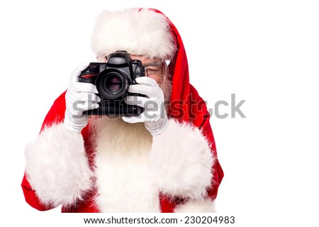 Santa-claus taking picture with his new camera