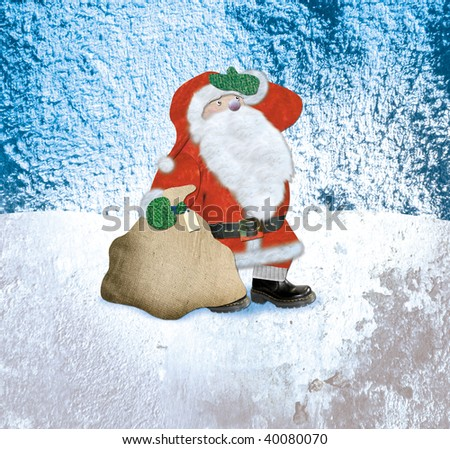 Santa Claus Textured Collage Illustration