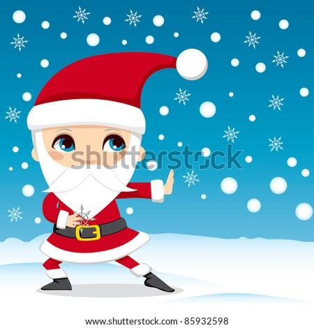 Santa Claus throwing snowflake ninja stars on Christmas Eve