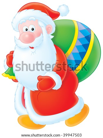 Santa Claus walks holding the bag with Christmas gifts