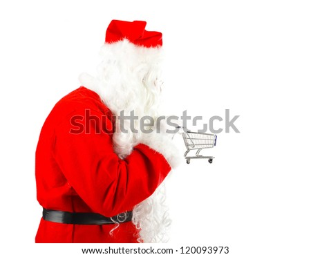 Santa Claus whit shopping cart on white background