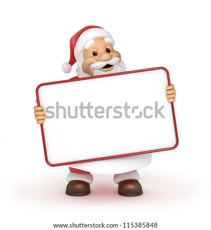 Santa claus with a blank billboard , 3d image with work-path - stock photo