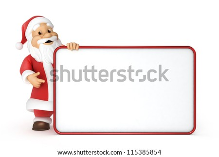 Santa claus with a blank billboard , 3d image with work-path