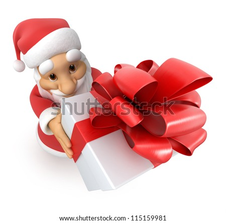 Santa Claus with a gift, top view fish-eye, 3d image with work-path