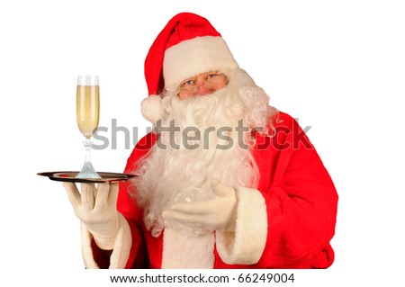 Santa Claus with a glass of champagne on serving tray. Horizontal format isolated on white.