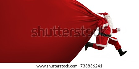 Santa Claus with a huge bag, on the run to, delivery christmas gifts isolated on white background #733836241