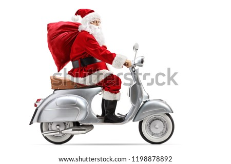 Santa Claus with a sack riding a vintage scooter isolated on white background #1198878892