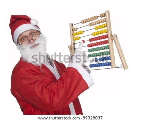 Santa Claus with an abacus