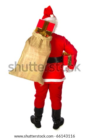 Santa Claus with big bag presents isolated over white