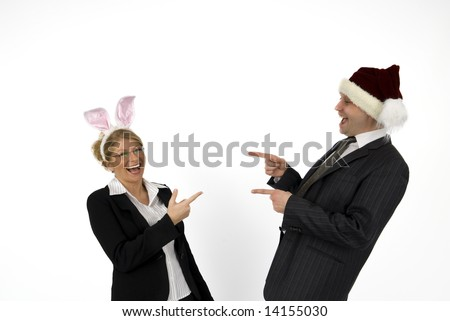 Santa Claus with Easter Bunny.