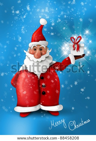 Santa Claus with gift on blue background
