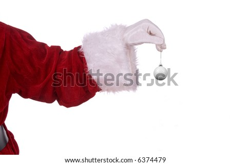 Santa Claus with golf ball ornament in his white gloved hand