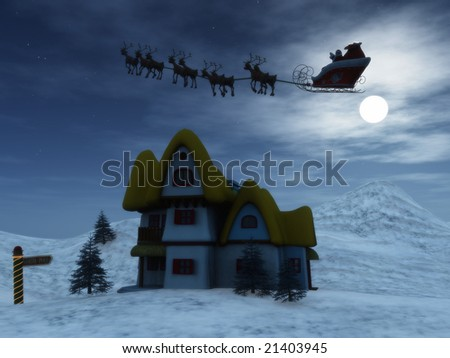 Santa Claus with his reindeers in the sky on a starry night.