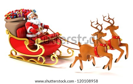 Santa Claus with sledge, deers and Christmas presents