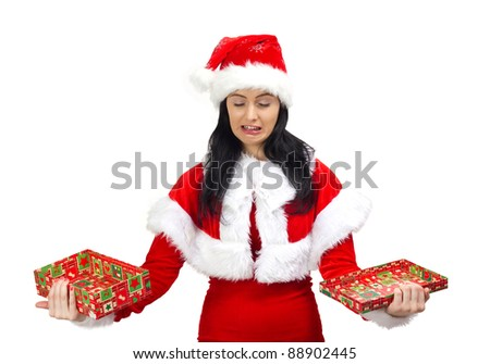 Santa Claus woman crying with opened gift box in hands, isolated on white